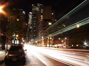 The lights of the cars on the road