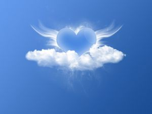 A heart between clouds