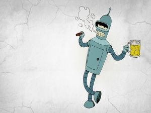 The robot Bender smokes and drinks beer