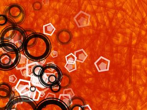Geometric shapes in orange background