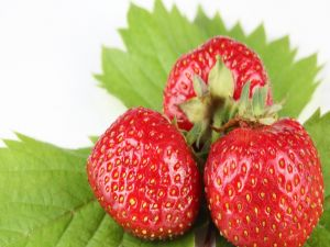 Three delicious strawberries