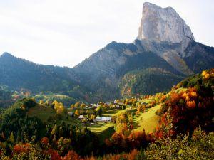 Village seen in autumn