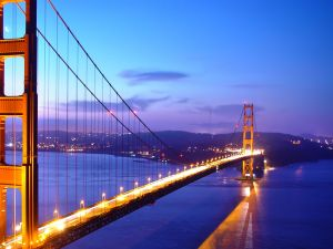 The Golden Gate seen at nightfall