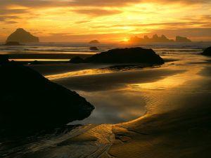 Sunset on a beautiful beach