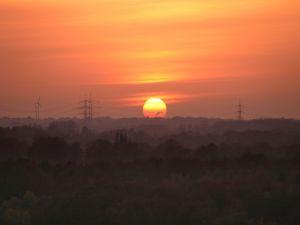 The orange sun at sunset