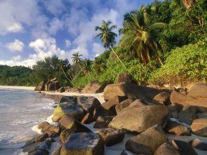 Beach in Takamaka, Seychelles