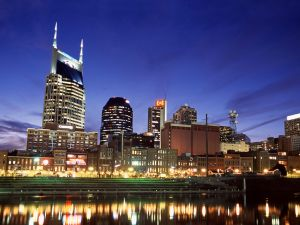 Nightfall in downtown Nashville, Tennessee