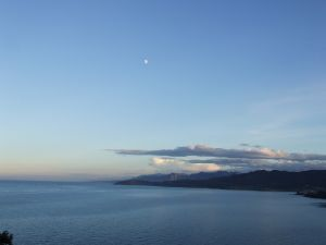 The moon over the Cantabrian Sea