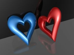 Blue heart and red heart