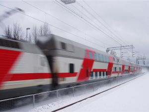 Moving train in a snowy place