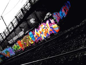 Graffiti on train tracks