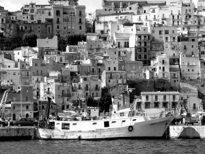 Fishing village in black and white