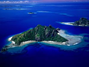 Aerial view of islands in the ocean