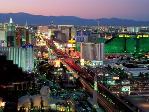 Night falls in city of Las Vegas