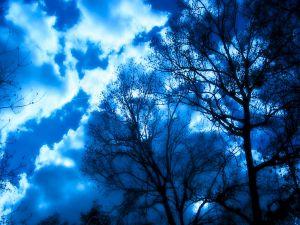 Sky illuminated at night