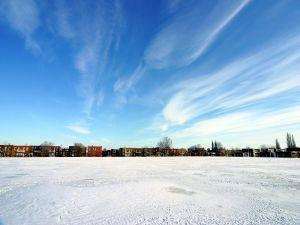 Snow on a football field