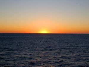 Spectacular sunset at sea