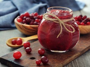 Berry jam in a glass bowl