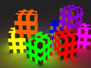 Colorful cubes in 3D