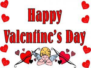 "Cupid wishes ""Happy Valentine's Day"""