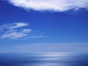 Blue colors in the sea and sky