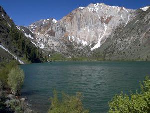A lake between mountains