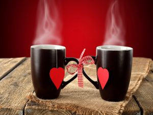 Black cups with a red heart