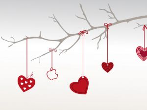 Hearts hanging from a branch