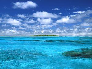 Island in a blue sea
