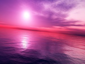 Bright light in a purple and pink sky