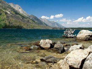 Big stones on lake