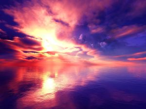 The colors of the sky reflected in water