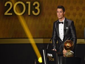 Cristiano Ronaldo excited at receive the Ballon d'Or (2013)