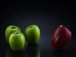 One red apple and three green