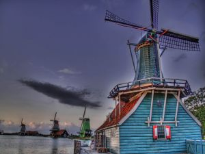 Windmills at nightfall