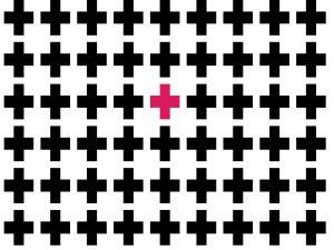 "A pink ""plus"""