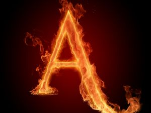 Fire in letter A