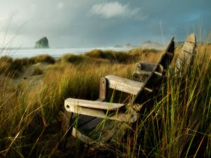 Wooden chairs to watch the sea