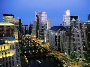 Chicago River at dusk