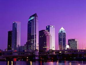 Night falls in city