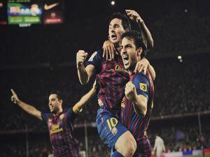 Barcelona players celebrating a goal