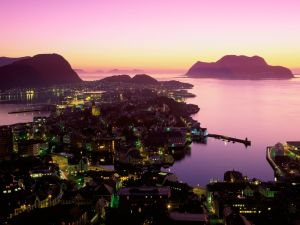 Alesund at nightfall (Norway)