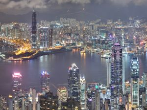 Night in the city of Hong Kong