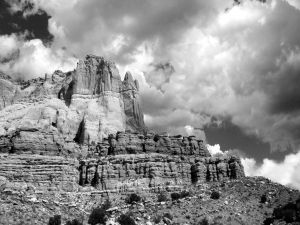 Rocky mountain in black and white