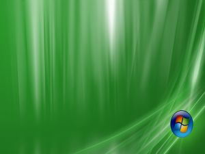 Windows logo on green background