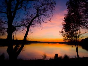 Lake seen at sunset